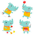 funny rhino a set characters vector image vector image