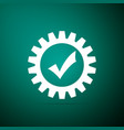 gear with check mark icon on green background vector image vector image