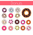 glazed donuts with coconut shavings and chocolate vector image vector image