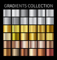 gold silver bronze gradients collection vector image vector image