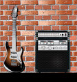 Guitar and Brick wall background vector image vector image