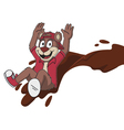 happy bear sliding in chocolate vector image