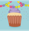 happy birthday card with cupcake and garlands vector image