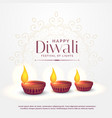 happy diwali background with three diya lamps vector image vector image