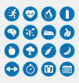 healthy lifestyle concept icons with blue button vector image