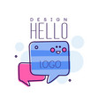 hello original bright badge with hello word and vector image
