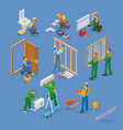 home repair isometric icons set with workers vector image