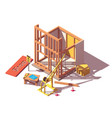 isometric shop construction vector image vector image