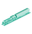 isometric train locomotive outline cargo train vector image vector image