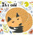 its cold card with a cute sleeping fox vector image vector image