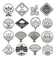 japanese monochrome icons set with ethnic motifs vector image vector image