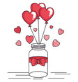 jar with bow and balloons helium in shape heart vector image