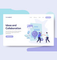 landing page template ideas and collaboration vector image