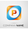 Letter P logo symbol in the colorful square on