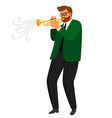 man performance musical blues jazz trumpeter vector image vector image