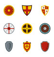 medieval armour icons set flat style vector image vector image