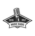 music radio emblem template with retro style vector image vector image
