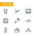 nutrition icons line style set with grilled fish vector image