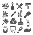 painting and drawing icons on white background vector image vector image
