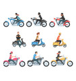 people riding motorcycles and scooters set side vector image vector image
