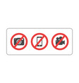 prohibition sign no camera no mobile phone vector image