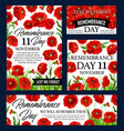 red poppy flower remembrance day memorial banner vector image vector image