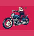 santa claus riding motorcycle vector image vector image
