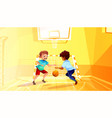 school boys play basketball vector image