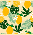seamless pattern with lemons exotic palm leaves vector image vector image