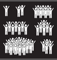 shouting and dancing group of people on black vector image