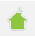 simple green icon - home vector image