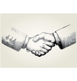 Sketch of shaking hands vector image