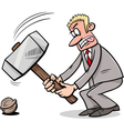 sledgehammer to crack a nut vector image vector image