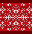 snowflake embroidery on red in closeup vector image vector image