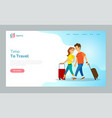 time to travel man and woman walking with bags vector image vector image