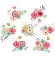 vintage flower set vector image vector image