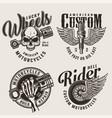 vintage motorcycle repair service emblems vector image vector image