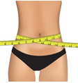 woman belly with measuring tape vector image vector image
