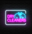 neon dry cleaners glowing sign with shirt in vector image