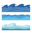 ocean or sea water waves set of horisontal vector image