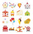 set of amusement park fun icons vector image