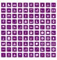 100 children activities icons set grunge purple vector image vector image