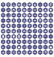 100 logistic and delivery icons hexagon purple vector image vector image
