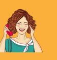 amused pop art woman chatting on retro phone vector image