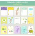 Baby Boy Card Set - with Cute Giraffe vector image vector image