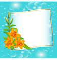 background with blue flowers and patches vector image vector image