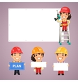 Builders Presenting Empty Banners vector image vector image