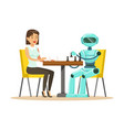 businessman and robot playing chess vector image vector image