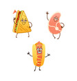 cartoon fastfood characters set isolated vector image