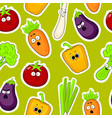 cartoon vegetable faces seamless background vector image vector image